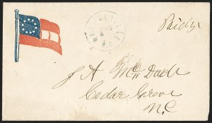 Sale Number 1190, Lot Number 1582, Patriotics–Handstamped Paid and Due Markings: 10-Star Flag DesignsMebaneville N.C. Mar ? (1862), Mebaneville N.C. Mar ? (1862)