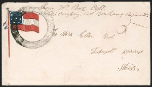 Sale Number 1190, Lot Number 1587, Patriotics–Handstamped Paid and Due Markings: 10-Star Flag DesignsUnion City Ten. (1861-62), Union City Ten. (1861-62)