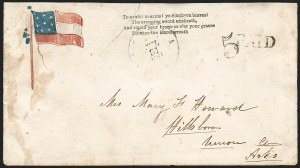 Sale Number 1190, Lot Number 1588, Patriotics–Handstamped Paid and Due Markings: 10-Star Flag DesignsHelena Ark. Jul. 21, 1861, Helena Ark. Jul. 21, 1861