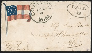 Sale Number 1190, Lot Number 1590, Patriotics–Handstamped Paid and Due Markings: 10-Star Flag DesignsCorinth Miss. Jul. 3 (1861), Corinth Miss. Jul. 3 (1861)