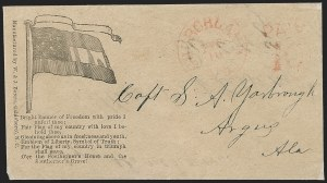 Sale Number 1190, Lot Number 1591, Patriotics–Handstamped Paid and Due Markings: 10-Star Flag DesignsChurchland Va. Feb. 10 (1862), Churchland Va. Feb. 10 (1862)