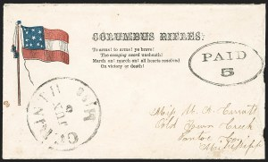 Sale Number 1190, Lot Number 1614, Patriotics–Handstamped Paid and Due Markings: 11-Star Flag DesignsCorinth Miss. Jun. 5 (1861), Corinth Miss. Jun. 5 (1861)