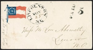 Sale Number 1190, Lot Number 1622, Patriotics–Handstamped Paid and Due Markings: 12-Star thru 13-Star Flag DesignsLincolnton N.C. Nov. 25 (1861), Lincolnton N.C. Nov. 25 (1861)