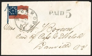 Sale Number 1190, Lot Number 1623, Patriotics–Handstamped Paid and Due Markings: 12-Star thru 13-Star Flag DesignsRichmond Va. Jun. 6, 1861, Richmond Va. Jun. 6, 1861
