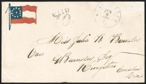 Sale Number 1190, Lot Number 1624, Patriotics–Handstamped Paid and Due Markings: 12-Star thru 13-Star Flag DesignsWinchester Va. Jun. 8, 1861, Winchester Va. Jun. 8, 1861