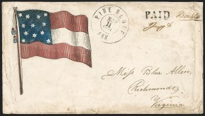 Sale Number 1190, Lot Number 1626, Patriotics–Handstamped Paid and Due Markings: 12-Star thru 13-Star Flag DesignsPine Bluff Ark. Nov. 11, 1861, Pine Bluff Ark. Nov. 11, 1861