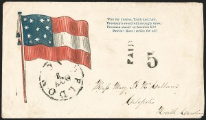 Sale Number 1190, Lot Number 1627, Patriotics–Handstamped Paid and Due Markings: 12-Star thru 13-Star Flag DesignsWeldon N.C. Nov. 3 (1861), Weldon N.C. Nov. 3 (1861)