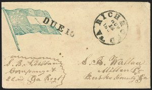 Sale Number 1190, Lot Number 1630, Patriotics–Handstamped Paid and Due Markings: 12-Star thru 13-Star Flag DesignsRichmond Va. Nov. 12, 186?, Richmond Va. Nov. 12, 186?