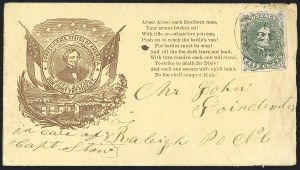 Sale Number 1190, Lot Number 1658, Patriotics–General Issues: Hanging Lincoln and Davis Medallions5c Green, Stone 2 (1), 5c Green, Stone 2 (1)