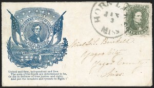 Sale Number 1190, Lot Number 1661, Patriotics–General Issues: Hanging Lincoln and Davis Medallions5c Olive Green, Stone A-B (1c), 5c Olive Green, Stone A-B (1c)