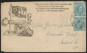 Sale Number 1190, Lot Number 1691, Patriotics–General Issues: Flag and Cannon, Tents, Soldier Designs5c Blue, Local (7), 5c Blue, Local (7)