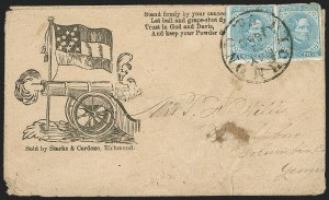 Sale Number 1190, Lot Number 1692, Patriotics–General Issues: Flag and Cannon, Tents, Soldier Designs5c Light Blue, De La Rue (6), 5c Light Blue, De La Rue (6)