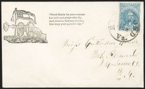 Sale Number 1190, Lot Number 1695, Patriotics–General Issues: Flag and Cannon, Tents, Soldier Designs10c Blue, Paterson (2), 10c Blue, Paterson (2)
