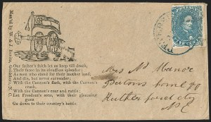 Sale Number 1190, Lot Number 1697, Patriotics–General Issues: Flag and Cannon, Tents, Soldier Designs5c Blue, Stone 2 (4), 5c Blue, Stone 2 (4)
