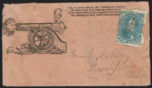 Sale Number 1190, Lot Number 1699, Patriotics–General Issues: Flag and Cannon, Tents, Soldier Designs5c Blue, Stone 2 (4), 5c Blue, Stone 2 (4)