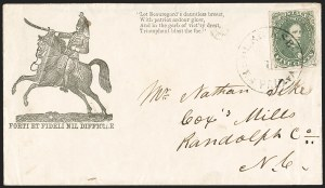 Sale Number 1190, Lot Number 1701, Patriotics–General Issues: Flag and Cannon, Tents, Soldier Designs5c Green, Stone 1-2 (1), 5c Green, Stone 1-2 (1)