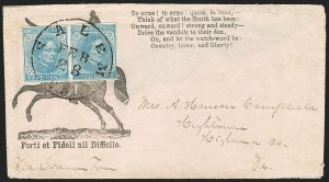 Sale Number 1190, Lot Number 1702, Patriotics–General Issues: Flag and Cannon, Tents, Soldier Designs5c Blue, Local (7), 5c Blue, Local (7)