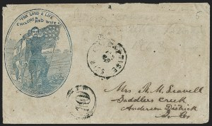 Sale Number 1190, Lot Number 1706, Patriotics–General Issues: Flag and Cannon, Tents, Soldier DesignsEnterprise Miss. Jan.? 28 (1863), Enterprise Miss. Jan.? 28 (1863)
