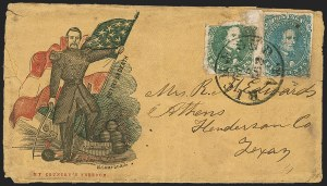 Sale Number 1190, Lot Number 1709, Patriotics–General Issues: Flag and Cannon, Tents, Soldier Designs5c Green, 5c Blue, Stone 2 (1, 4), 5c Green, 5c Blue, Stone 2 (1, 4)