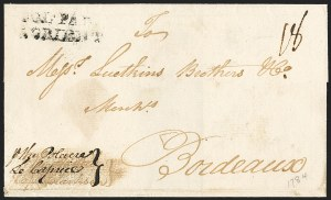 "Sale Number 1191, Lot Number 2022, Transatlantic, Railroad, Steamboat Mail(Philadelphia to France, 1784) ""COL*PAR/L'ORIENT"", (Philadelphia to France, 1784) ""COL*PAR/L'ORIENT"""