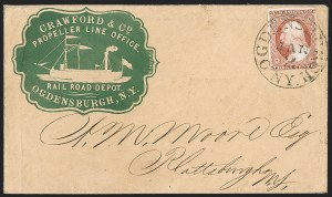 Sale Number 1191, Lot Number 2029, Transatlantic, Railroad, Steamboat Mail3c Dull Red, Ty. II (11A), 3c Dull Red, Ty. II (11A)