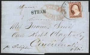 Sale Number 1191, Lot Number 2033, Transatlantic, Railroad, Steamboat Mail3c Dull Red, Ty. II (11A), 3c Dull Red, Ty. II (11A)