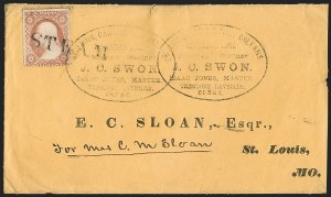 Sale Number 1191, Lot Number 2040, Transatlantic, Railroad, Steamboat Mail3c Dull Red, Ty. III (26), 3c Dull Red, Ty. III (26)