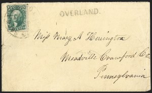Sale Number 1191, Lot Number 2068, Butterfield Overland Mails10c Green, Ty. III (33), 10c Green, Ty. III (33)