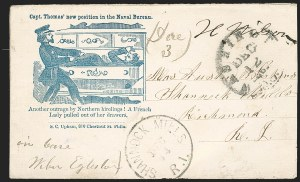 Sale Number 1191, Lot Number 2392, Civil War Postal HistoryCapt. Thomas' New Position in the Naval Bureau, Capt. Thomas' New Position in the Naval Bureau