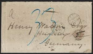 Sale Number 1191, Lot Number 2422, Confederate States: Blockade-Run, Flag-of-TruceBlockade-Run Cover from Wilmington N.C. to Heidelberg, Germany, Blockade-Run Cover from Wilmington N.C. to Heidelberg, Germany