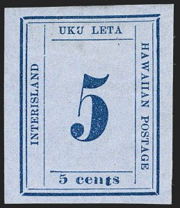 "Sale Number 1192, Lot Number 1025, Hawaii: Kamehameha III Issues thru NumeralsHAWAII, 1865, 5c Blue on Blue, ""Interisland"" (22), HAWAII, 1865, 5c Blue on Blue, ""Interisland"" (22)"