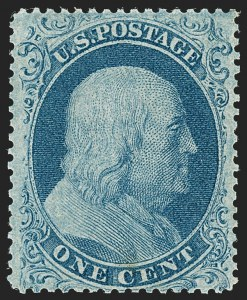 Sale Number 1192, Lot Number 106, 1857-60 Issue (Scott 18-39)1c Blue, Ty. I (18), 1c Blue, Ty. I (18)