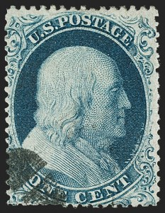 Sale Number 1192, Lot Number 108, 1857-60 Issue (Scott 18-39)1c Blue, Ty. Ia (19), 1c Blue, Ty. Ia (19)