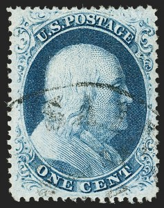 Sale Number 1192, Lot Number 110, 1857-60 Issue (Scott 18-39)1c Blue, Ty. III (21), 1c Blue, Ty. III (21)