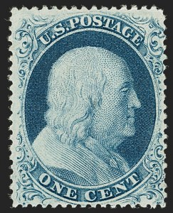 Sale Number 1192, Lot Number 112, 1857-60 Issue (Scott 18-39)1c Blue, Ty. IIIa (22), 1c Blue, Ty. IIIa (22)