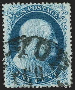 Sale Number 1192, Lot Number 114, 1857-60 Issue (Scott 18-39)1c Blue, Ty. IIIa (22), 1c Blue, Ty. IIIa (22)