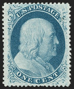 Sale Number 1192, Lot Number 115, 1857-60 Issue (Scott 18-39)1c Blue, Ty. V (24). Mint N.H, 1c Blue, Ty. V (24). Mint N.H