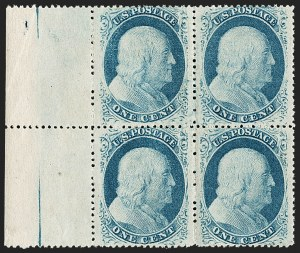 Sale Number 1192, Lot Number 117, 1857-60 Issue (Scott 18-39)1c Blue, Ty. V (24). Mint N.H, 1c Blue, Ty. V (24). Mint N.H