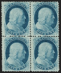 Sale Number 1192, Lot Number 118, 1857-60 Issue (Scott 18-39)1c Blue, Ty. V (24). Mint N.H, 1c Blue, Ty. V (24). Mint N.H
