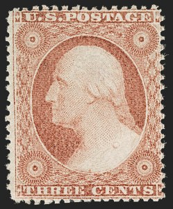 Sale Number 1192, Lot Number 119, 1857-60 Issue (Scott 18-39)3c Rose, Ty. I (25), 3c Rose, Ty. I (25)