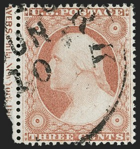 Sale Number 1192, Lot Number 120, 1857-60 Issue (Scott 18-39)3c Dull Red, Ty. III (26), 3c Dull Red, Ty. III (26)