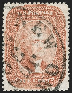 Sale Number 1192, Lot Number 121, 1857-60 Issue (Scott 18-39)5c Brick Red (27), 5c Brick Red (27)