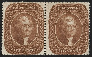 Sale Number 1192, Lot Number 127, 1857-60 Issue (Scott 18-39)5c Orange Brown, Ty. II (30), 5c Orange Brown, Ty. II (30)