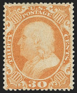 Sale Number 1192, Lot Number 136, 1857-60 Issue (Scott 18-39)30c Orange (38), 30c Orange (38)