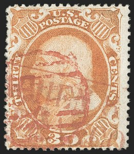 Sale Number 1192, Lot Number 138, 1857-60 Issue (Scott 18-39)30c Orange (38), 30c Orange (38)
