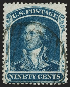 Sale Number 1192, Lot Number 143, 1857-60 Issue (Scott 18-39)90c Blue (39), 90c Blue (39)
