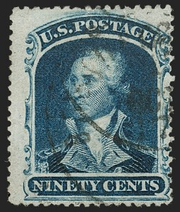 Sale Number 1192, Lot Number 144, 1857-60 Issue (Scott 18-39)90c Blue (39), 90c Blue (39)