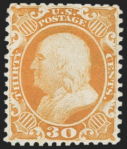 Sale Number 1192, Lot Number 152, 1875 Reprint of 1857-60 Issue (Scott 40-47)30c Yellow Orange, Reprint (46), 30c Yellow Orange, Reprint (46)