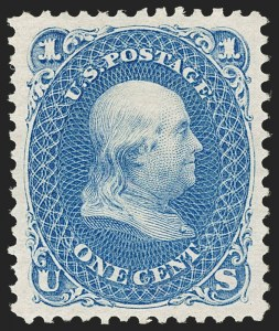 Sale Number 1192, Lot Number 196, 1875 Re-Issue of 1861-66 Issue (Scott 102-111)1c Blue, Re-Issue (102), 1c Blue, Re-Issue (102)