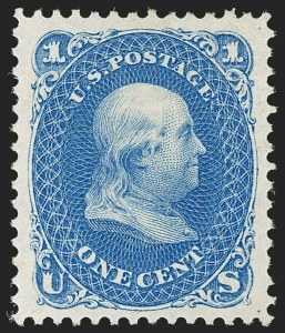Sale Number 1192, Lot Number 197, 1875 Re-Issue of 1861-66 Issue (Scott 102-111)1c Blue, Re-Issue (102), 1c Blue, Re-Issue (102)